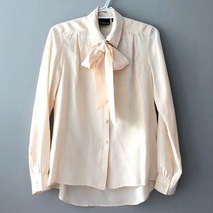 Trouve Beige Silk Tie Front Button Up